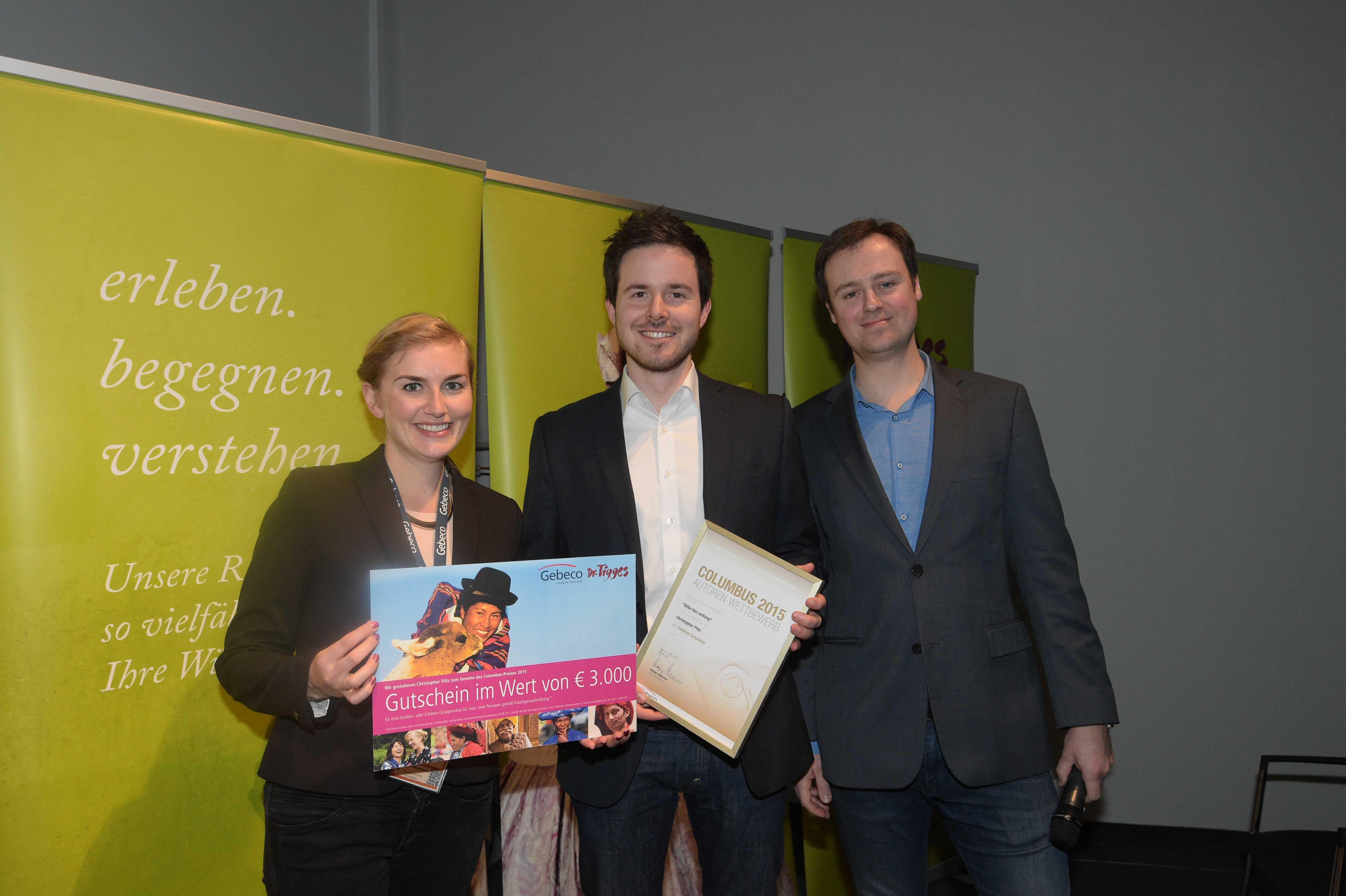 Columbus Autorenpreis 2015 VDRJ-Autorenpreis Gold kurz GeBeCo Sprecherin Lena Schumann und Christian Leetz und Christoph Piltz web
