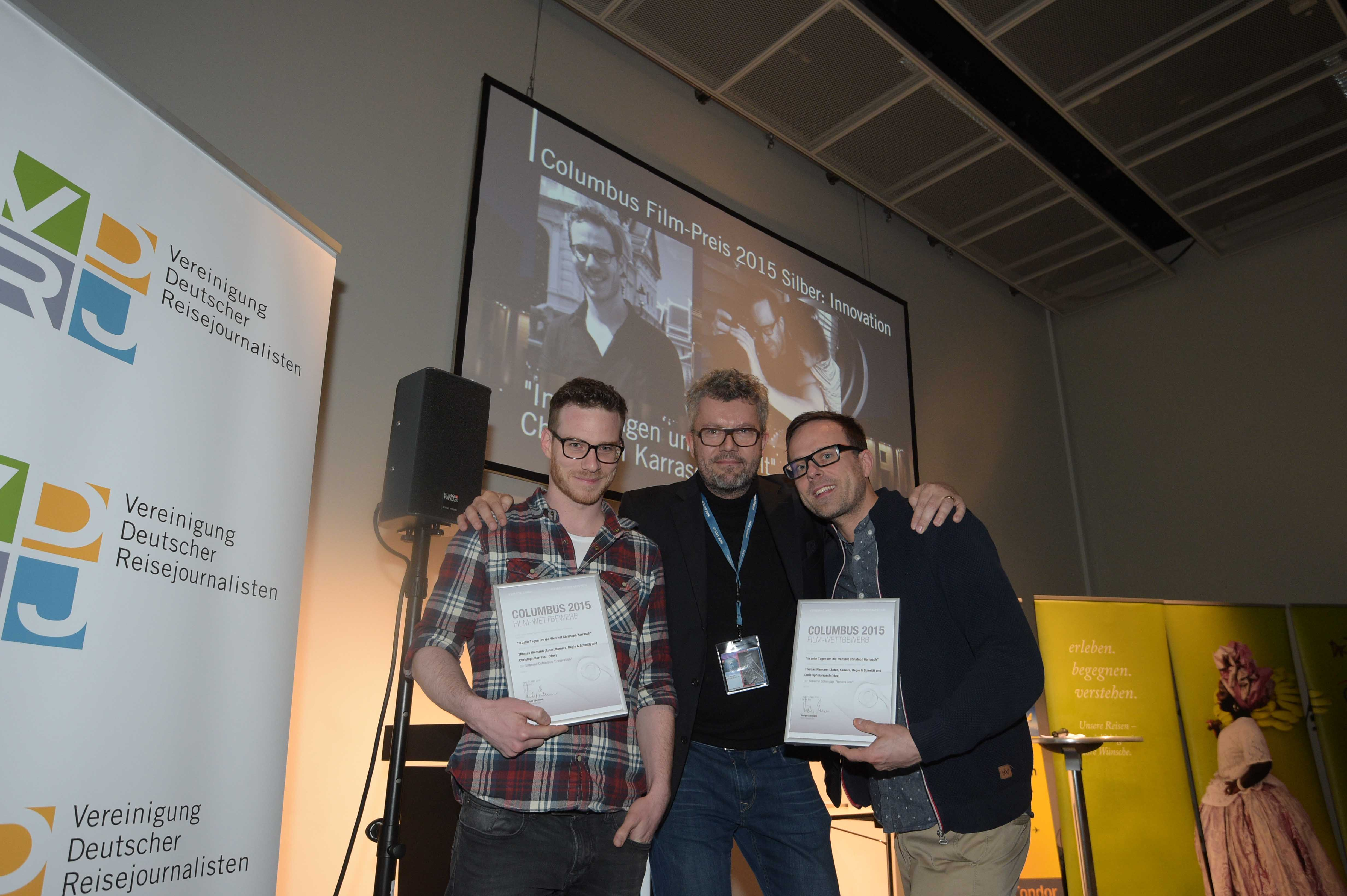 Columbus Film Preis 2015 Silber Innovation Christoph Karrasch und Thomas Niemann mit Thomas Radler web