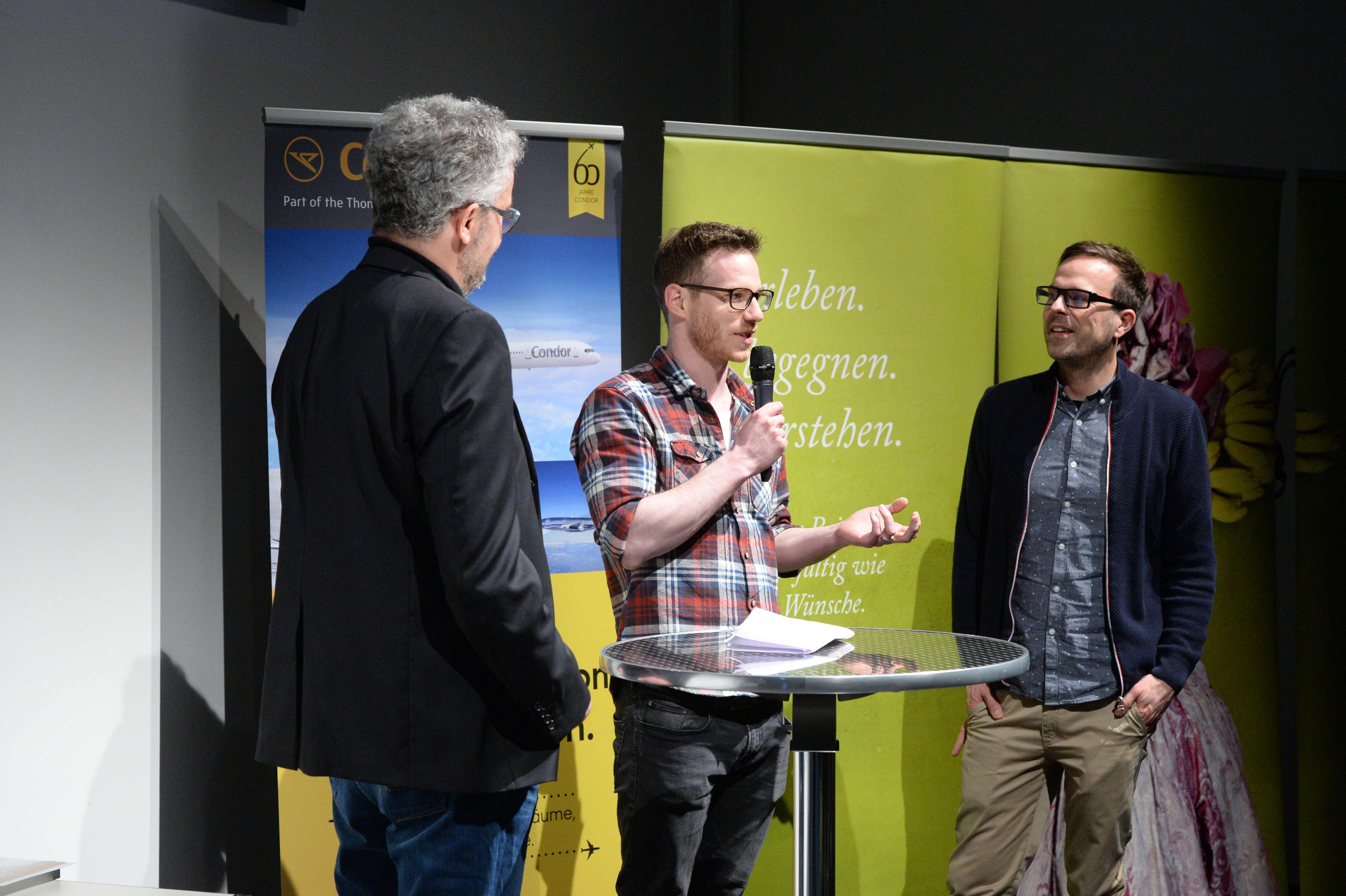 Columbus Film Preisverleihung 2015 Christoph Karrasch und Thomas Niemann Talk mit Thomas Radler web