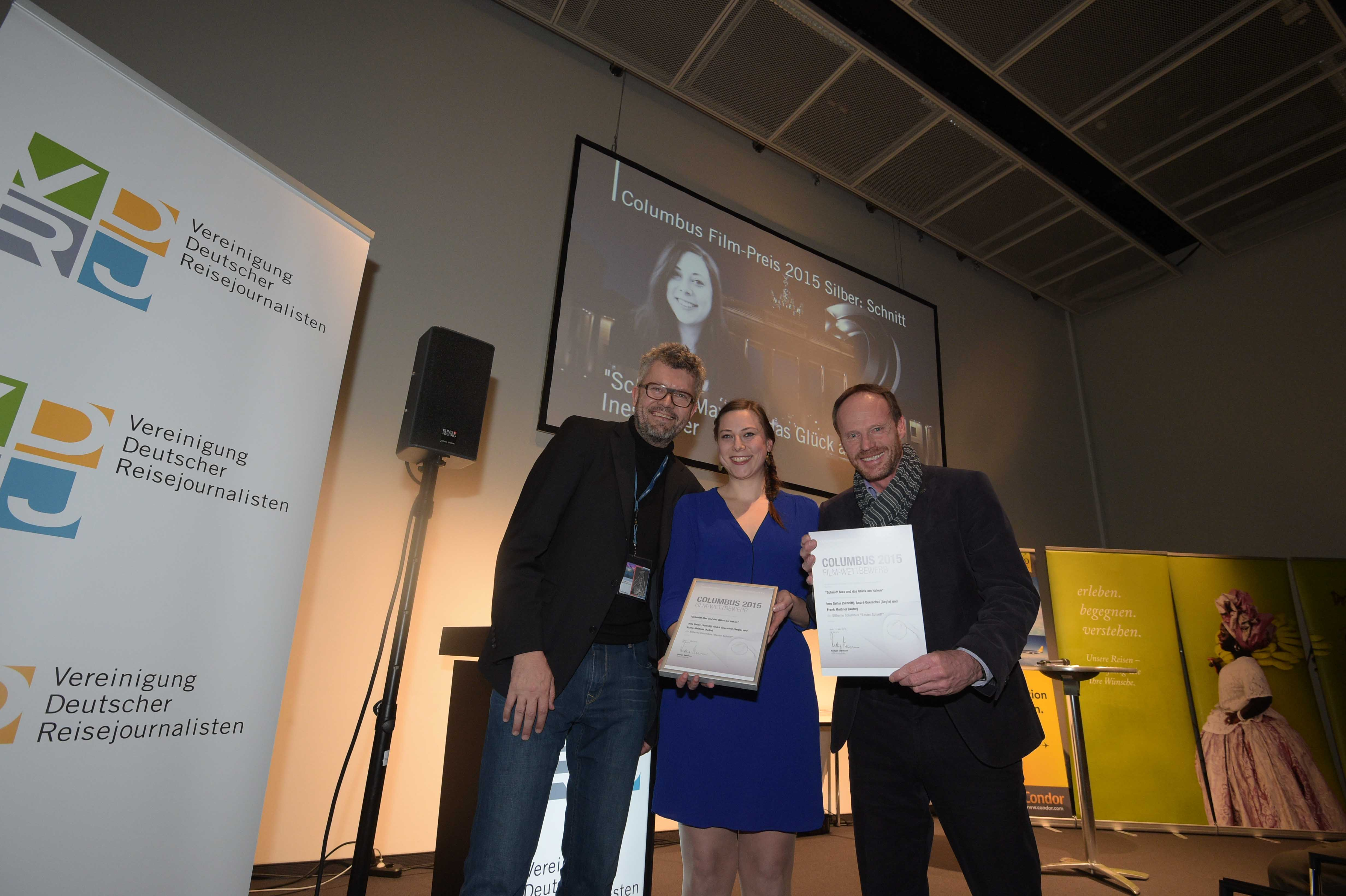 Columbus Film Preisverleihung 2015 Silber Ines Seiter und Frank Meißner mit Thomas Radler web