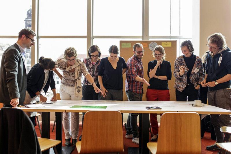 Planungsworkshop zur Kulturhauptstadtbewerbung Dresden 2025 mit der Kulturbürgermeisterin Annekatrin Klepsch (3.v.rechts). Foto: Klaus Gigga