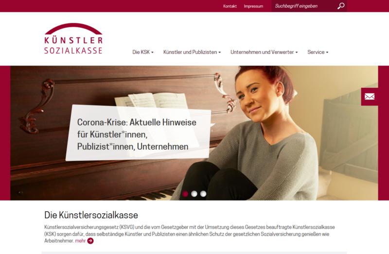 Man müsste Klavier spielen können … Auch wenn der Name Künstlersozialkasse es nicht vermuten lässt: Im Bereich Wort sind neben Schriftstellern und Dichtern u.a. auch (Bild-)Journalisten und Fachleute für Öffentlichkeitsarbeit zugelassen. (Screenshot: Sonja Sahmer)