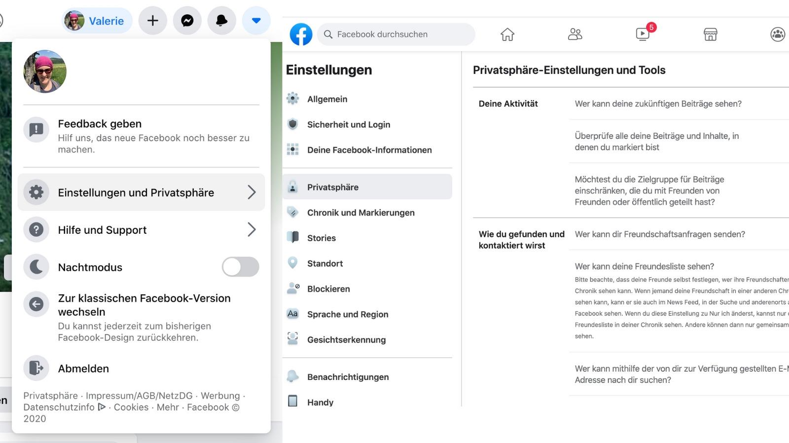 """Über den Pfeil rechts oben und das Dropdown-Menü am Desktop kommt man zu den Einstellungen. Über """"Einstellungen und Privatsphäre"""" können diese angepasst werden. (Screenshot: Valerie Wagner)"""