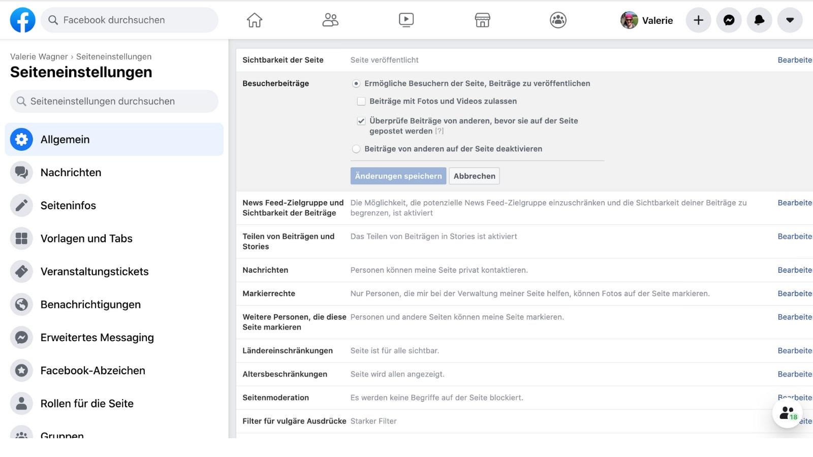 Außerdem können je nach Einstellung private Profile auf Seiten posten. (Screenshot: Valerie Wagner)