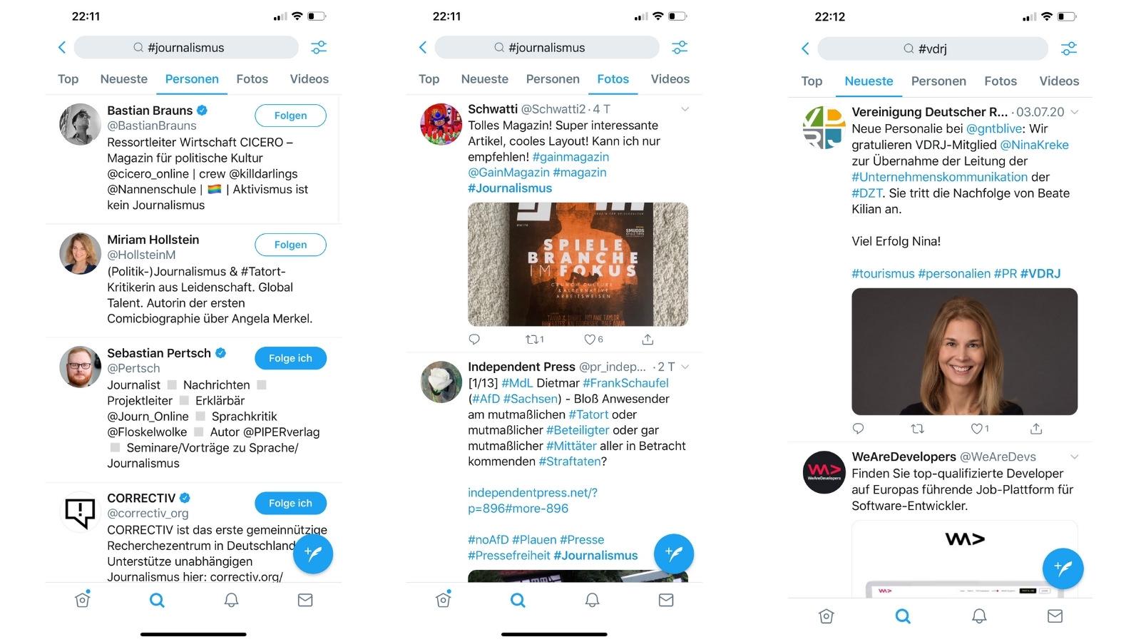 """Sucht man auf Twitter einen Hashtag, z. B. #Journalismus, erscheinen unter """"Top"""" die Ergebnisse mit den meisten Gefällt-mir-Angaben oder Retweets. Unter """"Neuste"""", wie der Name schon sagt, die neusten Tweets mit diesem Hashtag. Die Ergebnisse in """"Personen"""" zeigen die Accounts, die den Hashtag in der Profilbeschreibung nutzen und in """"Fotos und Videos"""" die beliebtesten Bilder und Videos. (Screenshots: Valerie Wagner)"""