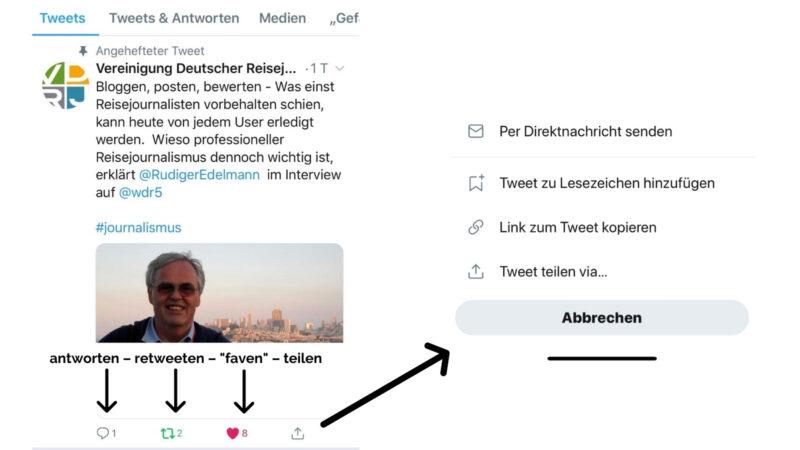 """Auf Tweets können (fast) alle Accounts antworten. Über den Retweet-Button, können Tweets auf dem eigenen Twitter-Account mit oder ohne Kommentar geteilt werden. Das """"faven"""" ist das """"Gefällt mir"""" auf Twitter und über den Teilen-Button, kann ein Tweet per Direktnachricht weitergeleitet werden, ein Lesezeichen gesetzt werden, der Link zum Tweet kopiert werden oder der Tweet per E-Mail oder anderes geteilt werden. (Screenshot: Valerie Wagner)"""