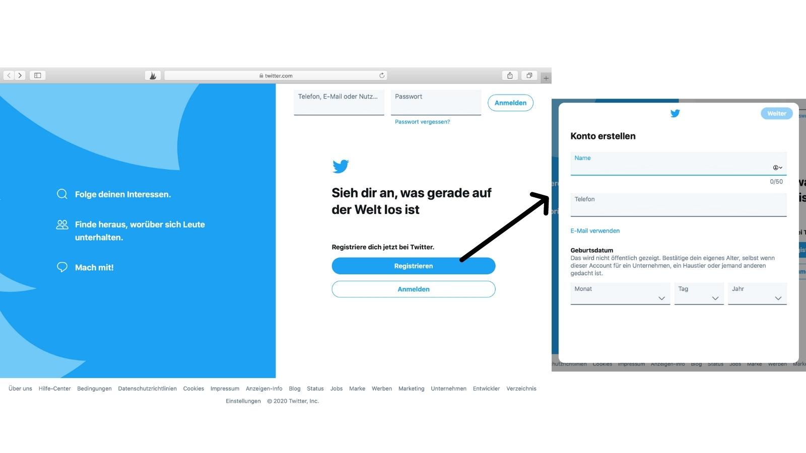 Über www.twitter.com registriert man sich auf der Plattform, legt einen Accountnamen und ein Passwort fest. Der Account wird über eine Bestätigungs-E-Mail verifiziert. (Screenshot: Valerie Wagner)