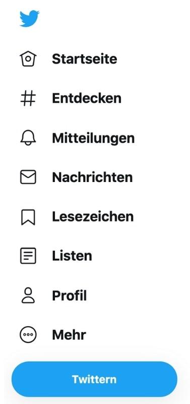 """In der mobilen Version erreicht man das Profil über das Profilbild. Über """"Profil"""" kann man seine Informationen bearbeiten, in """"Listen"""" kann man Accounts, denen man folgt, nach Themen sortieren. Über """"Themen"""" kann man festlegen, welche Inhalte im Newsfeed angezeigt werden. In den """"Lesezeichen"""" findet man seine gespeicherten Tweets wieder."""