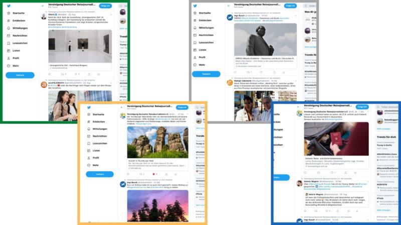 Die Social-Media-Verantwortliche der VDRJ, Charis Stank, kuratiert Inhalte von Mitgliedern und themenverwandten Verbänden und Vereinigungen unter anderem auf Twitter. (Screenshots & Collage: Valerie Wagner)