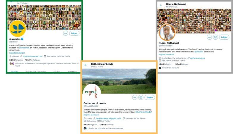 2011 wurde Rotation Curation durch die Regierungsbehörde in Schweden ins Leben gerufen und durch VisitSweden in einer Kampagne umgesetzt. Die Idee fand weltweit Anklang und so folgten Organisationen rund um den Globus dem schwedischen Vorbild. Die Kampagne endete 2018, man findet sie aber noch in abgewandelter Form auf Twitter und auch auf Instagram. Der Account @Netherlanders ist heute noch aktiv und betreibt weiterhin aktiv Rotation Curation, ebenso @PeopleofLeeds. (Screenshots & Collage: Valerie Wagner)