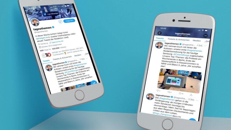 Der Twitter-Account der Tagesthemen wird jede Woche von einem anderen Verantwortlichen bedient. Den aktuellen Twitter-Host sieht man im Profilbild und auch die Profilbeschreibung wird wöchentlich angepasst. (Screenshots & Collage: Valerie Wagner)